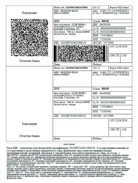 Пример квитанции об оплате госпошлины