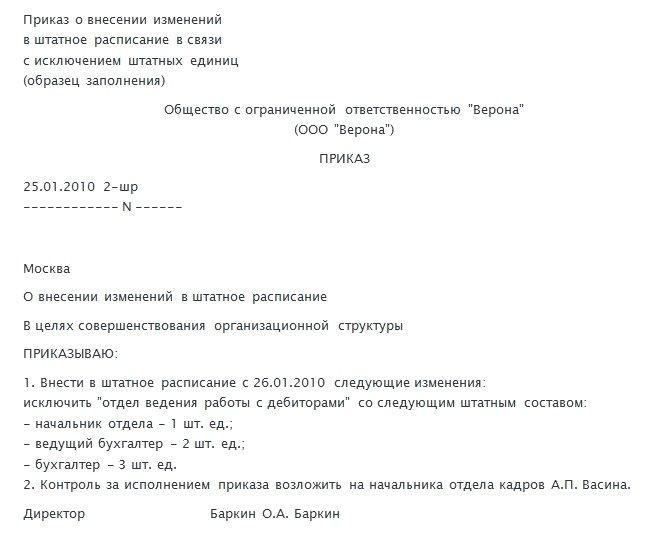 Пример приказа о внесении изменений в штатное расписание с исключением штатных единиц